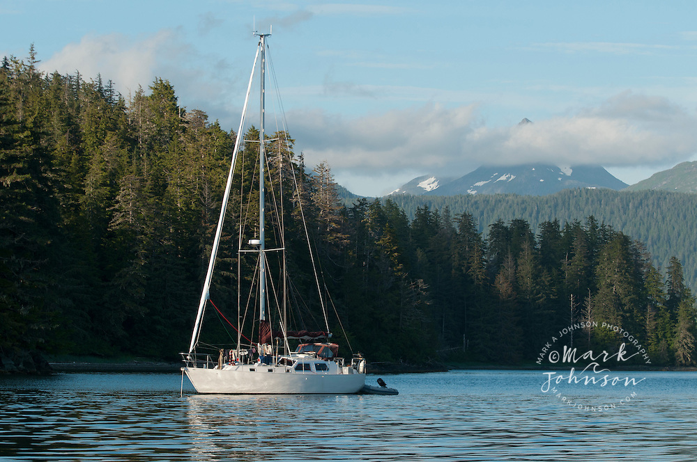 Sailboat anchored off Baranof Island, Inside Passage, Alaska