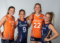 10-05-2018 NED: Team shoot Dutch volleyball team women, Arnhem<br /> (L-R) Juliet Lohuis #7 of Netherlands, Myrthe Schoot #9 of Netherlands, Nicole Koolhaas #22 of Netherlands, Kirsten Knip #1 of Netherlands