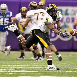Dec 20, 2009; New Orleans, LA, USA; Southern Miss Golden Eagles wide receiver DeAndre Brown (5) reaches for the ball on a pass during the 2009 New Orleans Bowl at the Louisiana Superdome. Middle Tennessee State defeated Southern Miss 42-32. Mandatory Credit: Derick E. Hingle-US PRESSWIRE