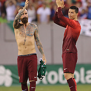 Raul Meireles, (left) and Cristiano Ronaldo, Portugal, after the Portugal V Ireland International Friendly match in preparation for the 2014 FIFA World Cup in Brazil. MetLife Stadium, Rutherford, New Jersey, USA. 10th June 2014. Photo Tim Clayton