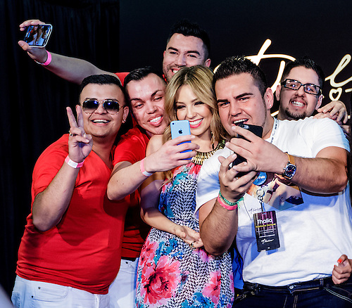RANCHO CUCAMONGA, CA   MARCH 28: Music Icon Thalia Attends The Launch Of  The.
