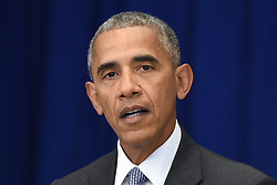 September 19, 2016 - New York, New York, United States of America - United States President Barack Obama holds a press conference about the recent bombing in the New York region at the Lotte New York Palace Hotel in New York, New York, on September 19, 2016. On the evening of September 17, 2016, a bomb placed in a dumpster exploded in lower Manhattan injuring at least 29 people. .Credit: Anthony Behar / Pool via CNP (Credit Image: © Anthony Behar/CNP via ZUMA Wire)