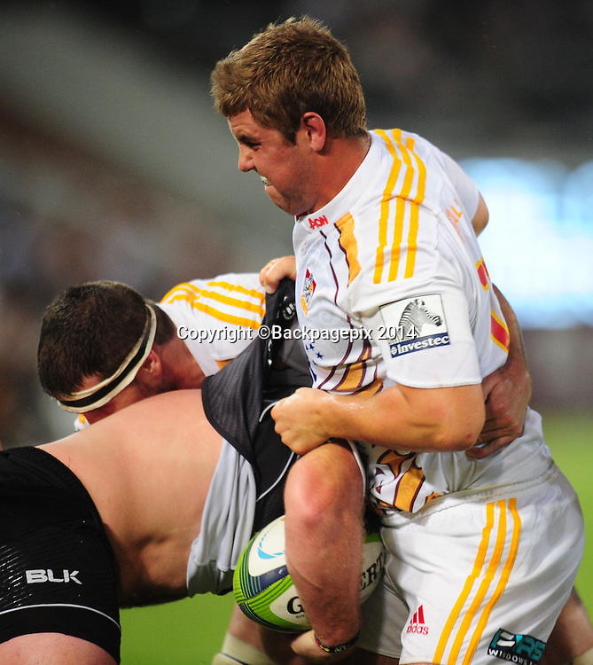 Damian McKenzie of the Chiefs battles Kyle Cooper of the Sharks during the 2015 Super Rugby match between Sharks and Chiefs at the Kings Park Stadium in Durban on the 21st  of March 2015<br /> <br /> &copy;Sabelo Mngoma/BackpagePix