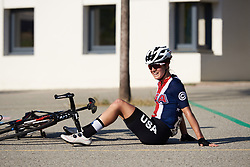 Stage winner Ruth Winder (USA) has a little sit down after the effort at Tour Cycliste Féminin International de l'Ardèche 2018 - Stage 6, a 113.7km road race from Savasse to Montboucher sur Jabron, France on September 17, 2018. Photo by Sean Robinson/velofocus.com