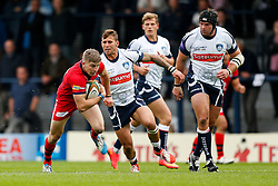 Bristol Full Back Auguy Slowik breaks from Yorkshire Carnegie Winger Oli Goss - Photo mandatory by-line: Rogan Thomson/JMP - 07966 386802 - 14/09/2014 - SPORT - RUGBY UNION - Leeds, England - Headingley Carnegie Stadium - Yorkshire Carnegie v Bristol Rugby - Greene King IPA Championship.