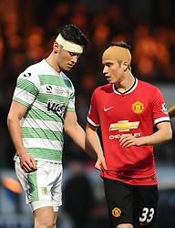Yeovil Town's Kieffer Moore (l) and Manchester United's Paddy McNair  - Photo mandatory by-line: Joe meredith/JMP - Mobile: 07966 386802 - 04/01/2015 - SPORT - football - Yeovil - Huish Park - Yeovil Town v Manchester United - FA Cup - Third Round