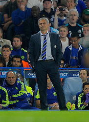 Chelsea Manager, Jose Mourinho cuts a frustrated figure  - Photo mandatory by-line: Joe Meredith/JMP - Mobile: 07966 386802 - 17/09/2014 - SPORT - FOOTBALL - London - Stamford Bridge - Chelsea v Schalke 04 - Champions League Group Stage