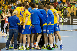 Players of RK Celje PL during handball match between RK Celje Pivovarna Lasko and SG Flensburg-Handewitt in the last sixteen of EHF Champions League 2013/14 on March 23, 2014 in Dvorana Zlatorog, Celje, Slovenia. Photo by Urban Urbanc / Sportida
