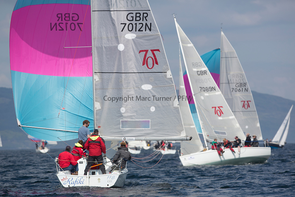 Day three of the Silvers Marine Scottish Series 2016, the largest sailing event in Scotland organised by the  Clyde Cruising Club<br /> Racing on Loch Fyne from 27th-30th May 2016<br /> <br /> Hunter 7087, GBR7012N, Mad Rafiki, Mark Homer, HSC/CCC, Hunter 707<br /> <br /> Credit : Marc Turner / CCC<br /> For further information contact<br /> Iain Hurrel<br /> Mobile : 07766 116451<br /> Email : info@marine.blast.com<br /> <br /> For a full list of Silvers Marine Scottish Series sponsors visit http://www.clyde.org/scottish-series/sponsors/