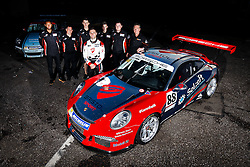 Dino Zamparelli poses with his new team, GT Marques, after claiming two wins and a further two podium finishes in his 4 races with them | Bristol Sport Racing | #88 Porsche 911 GT3 Cup Car | Porsche Carrera Cup GB | Race 2 - Mandatory byline: Rogan Thomson/JMP - 07966 386802 - 11/10/2015 - MOTORSPORT - Brands Hatch GP Circuit - Fawkham, England - BTCC Meeting Day 2.