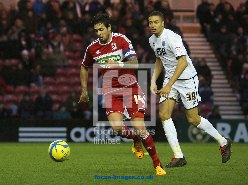 Picture by Paul Gaythorpe/Focus Images Ltd +447771 871632.26/01/2013.Rhys Williams of Middlesbrough and Michael Hector of Aldershot Town during the FA Cup match at the Riverside Stadium, Middlesbrough.