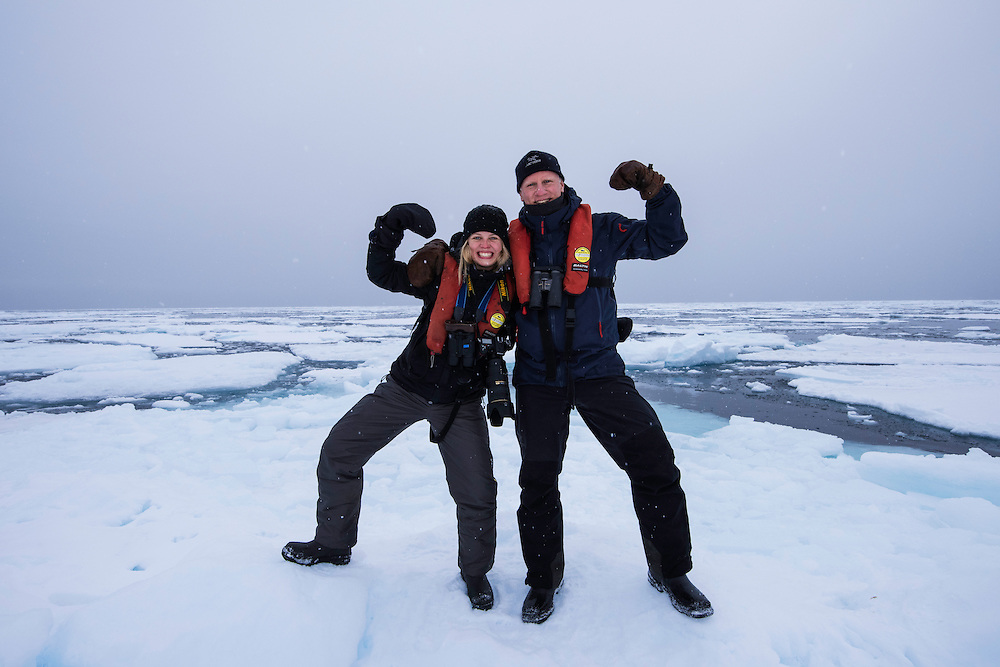 Polar travellers Liisa and Staffan Widstrand, Svalbard, Norway, Arctic