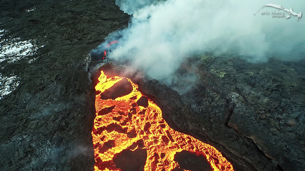 Aerial image of Holuhraun volcano eruption, Bardarbunga volcanic system, Iceland. Screenshot from 4K video taken using prototype DJI Phantom 3 Professional. Photo by Eric Cheng / DJI and Ferdinand Wolf / Skynamic.