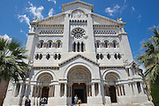 MONACO, MONACO - JUNE 17, 2015: Exterior of the Monaco Cathedral (Cathedrale de Monaco) in Monaco-Ville, Monaco. It's famous for the tombs of Princess Grace and Prince Rainier.
