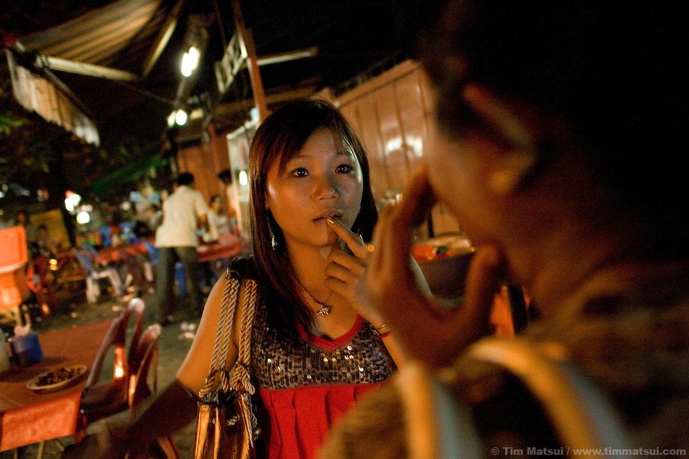 Sex trafficking survivor in downtown Phnom Penh.
