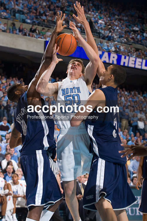 27 December 2007: North Carolina Tar Heels forward Tyler Hansbrough (50) during a 106-70 win over the Nevada Wolf Pack at the Dean Smith Center in Chapel Hill, NC.