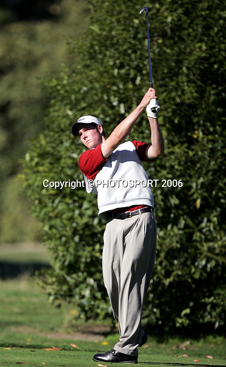 Hamilton's Mark Purser tees off during his match against Shandon's Andrew Green in the 2006 New Zealand Mens Golf Amateur Championship at Coringa Golf Course, Christchurch, on Saturday 8 April 2006. Green won the match. Photo: Tim Hales/PHOTOSPORT