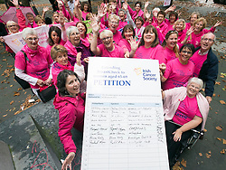 Repro Free: 30/09/2014<br /> The Irish Cancer Society will be joined by cancer campaigners from across Ireland as they submit a petition to Government, calling on the Minister for Health to take action and include extending the breast cancer screening programme for women aged 65-69 in the HSE&rsquo;s Services Plan for 2015. The Government said the extension of BreastCheck would take place during 2014 but then made a decision to defer it. At least eighty-seven lives are being lost to breast cancers every year due to the delay in screening the upper age group of women.  Picture Andres Poveda