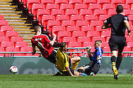 Lee Wort of Sholing is prevented from scoring by Daryll Hall of West Auckland (centre) and Jordan Nixon of West Auckland (right) during the FA Vase match at Wembley Stadium, London<br /> Picture by David Horn/Focus Images Ltd +44 7545 970036<br /> 10/05/2014