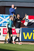 21st April 2018, Dens Park, Dundee, Scotland; Scottish Premier League football, Dundee versus St Johnstone; Sofien Moussa of Dundee celebrates after scoring for 2-1
