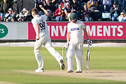 WICKET - Brydon Carse has Paul Horton caught behind during the Specsavers County Champ Div 2 match between Durham County Cricket Club and Leicestershire County Cricket Club at the Emirates Durham ICG Ground, Chester-le-Street, United Kingdom on 19 August 2019.