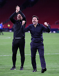 Tottenham Hotspur manager Mauricio Pochettino celebrates with his staff after the game