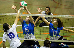 Xu Jie of China vs Suzana Ocepek of Slovenia and Lena Gabrscek of Slovenia during friendly Sitting Volleyball match between National teams of Slovenia and China, on October 22, 2017 in Sempeter pri Zalcu, Slovenia. (Photo by Vid Ponikvar / Sportida)