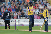 James Vince and Adam Wheater during the NatWest T20 Blast Quarter Final match between Worcestershire County Cricket Club and Hampshire County Cricket Club at New Road, Worcester, United Kingdom on 14 August 2015. Photo by David Vokes.