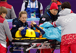 February 17, 2018 - Gangneung, South Korea - Short track speed skater Elise Christie of Great Britain is injured during the Ladies's Short Track Speed Skating 1500M semifinals at the PyeongChang 2018 Winter Olympic Games at Gangneung Ice Arena on Saturday February 17, 2018. (Credit Image: © Paul Kitagaki Jr. via ZUMA Wire)