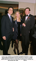 Left to right, COUNT ALLESANDRO GUERRINI MARALDI, model MISS CATRINA SKEPPER a friend of the Duke of York, and MR BERTIE WAY former fiance of Koo Stark, at a party in London on November 5th 1996.LTG 51