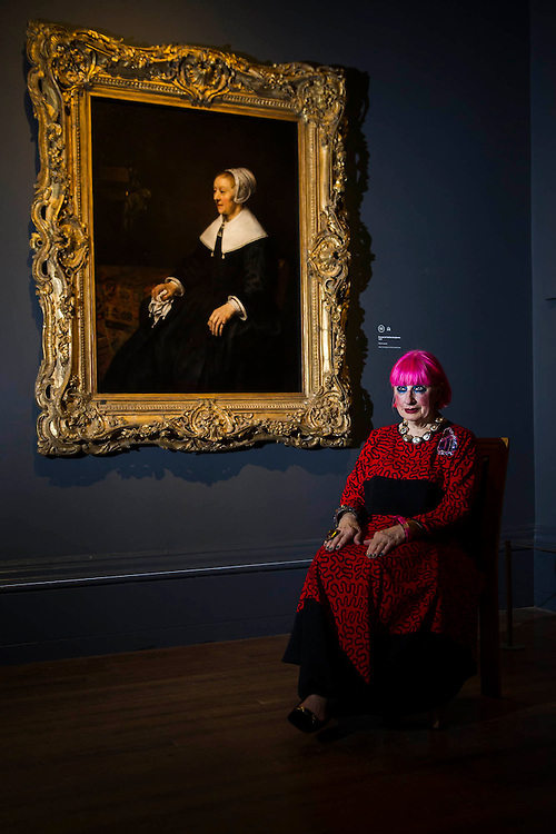 Fashion designer Zandra Rhodes recreates Portrait of Catrina Hooghsaet in front of the original painting - This is the portrait she reinvents in the upcoming BBC2 programme Rankin Shoots Rembrandt. This is to mark the start of Rembrandt: The Late Works, a new  exhibition sponsored by Shell - the first ever in-depth exploration of Rembrandt's final years of painting. It features 'unprecedented' loans from around the world and is an opportunity to experience the 'passion, emotion and innovation' of the great master of the Dutch Golden Age.  The exhibition runs from 15 October 2014 - 18 January 2015