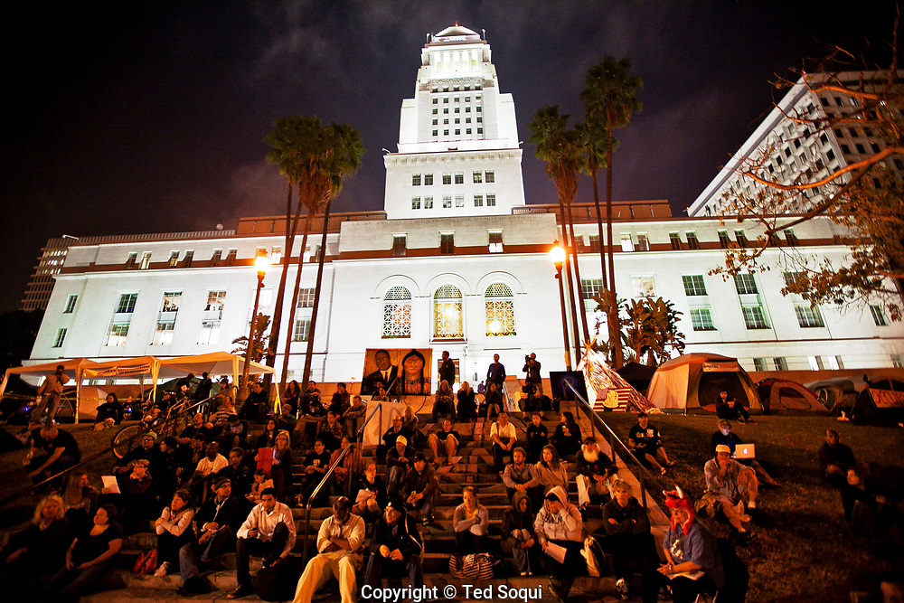 Day 18 at Occupy L.A. around L.A. city Hall..A general assembly meeting held nightly on the steps of L.A. city hall.