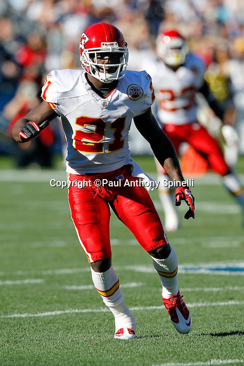 Kansas City Chiefs cornerback Javier Arenas (21) makes a move in pass coverage during the NFL week 14 football game against the San Diego Chargers on Sunday, December 12, 2010 in San Diego, California. The Chargers won the game 31-0. (©Paul Anthony Spinelli)