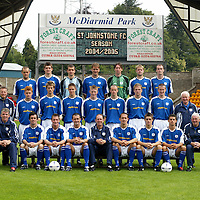 St Johnstone FC Photocall 2004-2005 season. First Team Squad<br />Back row from left, Martin Fotheringham, Sean Webb, Kevin Cuthbert, Ian Maxwell, Craig Nelson, Kevin Rutkiewicz, Michael Moore<br />Middle row from left, Nick Summersgill (Physio), Stevie McManus, Lee Hardy, Stepohen Fraser, Mark Baxter, Eddie Malone, Ryan Stevenson, Chris Hay and Jocky Peebles (Asst Physio)<br />Front row from left, Jim Weir (Asst Manager), Stephen McConalogue, Jordan tait, David Hannah (Captian) John Connolly (Manager), Paul Bernard, Ross Forsyth, Colin Marshall and Tommy Campbell (Youth Development Manager).<br />Picture by Graeme Hart.<br />Copyright Perthshire Picture Agency<br />Tel: 01738 623350  Mobile: 07990 594431