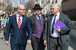 © Licensed to London News Pictures . 27/03/2017 . London , UK . PATRICK O'FLYNN , GAWAIN TOWLER and PAUL NUTTALL of UKIP outside Parliament in Westminster . Photo credit: Joel Goodman/LNP
