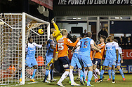 Jayden Stockley of Luton Town (25) headed effort on goal is judged not to have crossed the line during the Sky Bet League 2 match at Kenilworth Road, Luton<br /> Picture by David Horn/Focus Images Ltd +44 7545 970036<br /> 10/02/2015