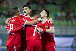 Players of Russia celebrate goal during futsal match between National teams of Kazakhstan and Russia at Day 5 of UEFA Futsal EURO 2018, on February 3, 2018 in Arena Stozice, Ljubljana, Slovenia. Photo by Urban Urbanc / Sportida