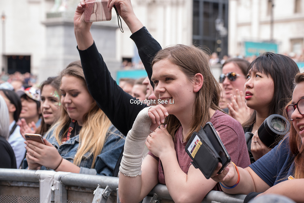 Thousands attends to watch at West End Live on June 16 2018 in Trafalgar Square, London.