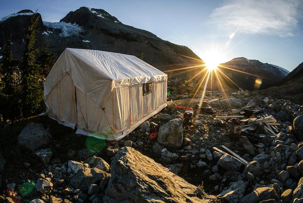 An alpine fly camp