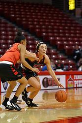 07 October 2016: Taylor Stewart starts a drive against Zakiya Beckles. Illinois State University Women's Redbird Basketball team during Hoopfest at Redbird Arena in Normal Illinois.