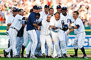 July 25, 2009: The Tigers celebrate #9 Carlos Guillen of the  Detroit Tigers RBI game winning single in the tenth inning of the MLB game between Chicago White Sox and Detroit Tigers at Comerica Park, Detroit, Michigan. Tigers defeated the White Sox 4-3 in ten innings.