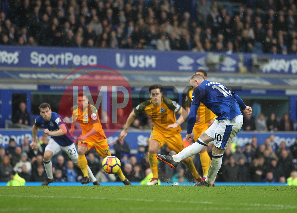 Wayne Rooney of Everton (R) misses from the penalty spot - Mandatory by-line: Jack Phillips/JMP - 10/03/2018 - FOOTBALL - Goodison Park - Liverpool, England - Everton v Brighton and Hove Albion - English Premier League