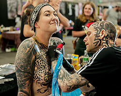 August 13, 2017 - City, South Yorkshire, UNITED KINGDOM - Tattoo Jam Europe's biggest tattoo convention held at Doncaster racecourse highlighting the world of tattooing .The convention is in its tenth year ,showcasing the best tattoo artists from around the world. (Credit Image: © Rob Leyland/London News Pictures via ZUMA Wire)