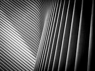Graphic lines in Santiago Calatrava's vast ribbed structure that soars over the World Trade Center Transportation Hub in New York