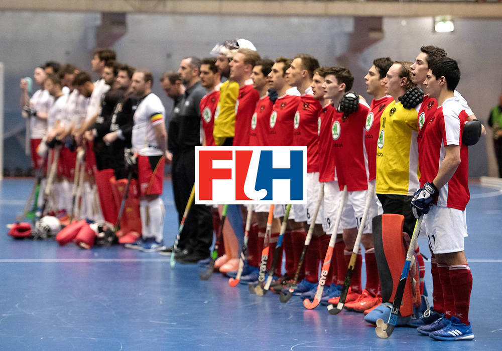 BERLIN - Indoor Hockey World Cup<br /> Austria - Belgium<br /> foto: Line Up<br /> WORLDSPORTPICS COPYRIGHT FRANK UIJLENBROEK