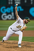 Oakland Athletics relief pitcher Bobby Wahl (63) pitches against the Miami Marlins at Oakland Coliseum in Oakland, Calif., on May 23, 2017. (Stan Olszewski/Special to S.F. Examiner)