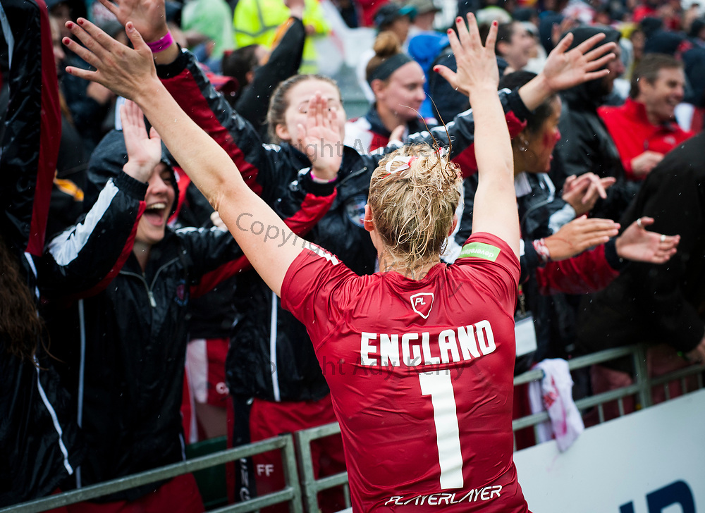 England's Torz Anderson celebrates with the spectators after the bronze medal match which they won with a Golden Goal in extra time at the 2017 FIL Rathbones Women's Lacrosse World Cup, at Surrey Sports Park, Guildford, Surrey, UK, 22nd July 2017.