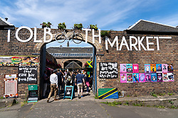 Tolbooth Market during the Edinburgh Festival at Canongate in Old Town Edinburgh, Scotland, UK