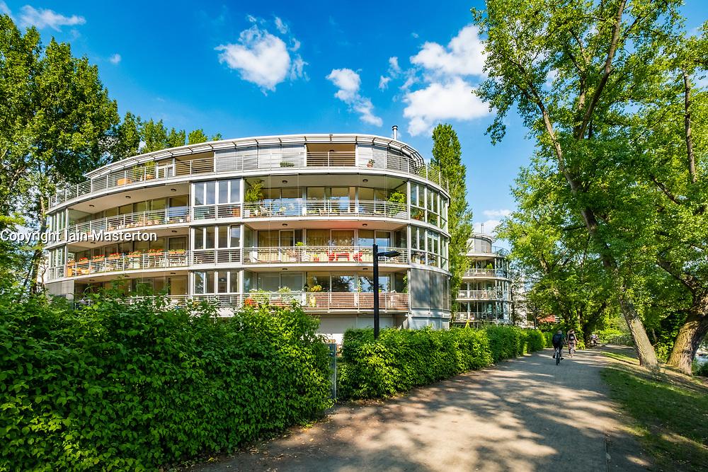Modern luxury apartment buildings beside River Spree near Rummelsburg in Berlin, Germany