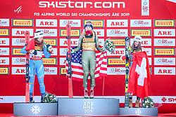 05.02.2019, Aare, SWE, FIS Weltmeisterschaften Ski Alpin, SuperG, Damen, Flower Zeremonie, im Bild v.l.: Silbermedaillengewinnerin Sofia Goggia (ITA), Weltmeisterin und Goldmedaillengewinnerin Mikaela Shiffrin (USA), Bronzemedaillengewinnerin Corinne Suter (SUI) // f.l.: World champion and gold medalist Mikaela Shiffrin of the USA Silver medalist Sofia Goggia of Italy Bronze medalist Corinne Suter of Switzerland during the Flower Ceremony ladie's Super-G of the FIS Ski Alpine World Championships 2019 in Aare, Sweden on 2019/02/05. EXPA Pictures © 2019, PhotoCredit: EXPA/ Dominik Angerer